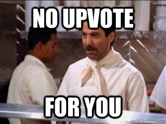 no upvote for you