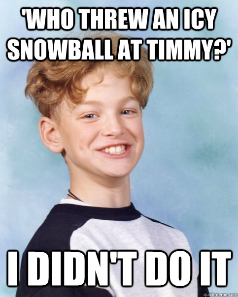 'Who threw an icy snowball at Timmy?' I didn't do it  I didnt do it