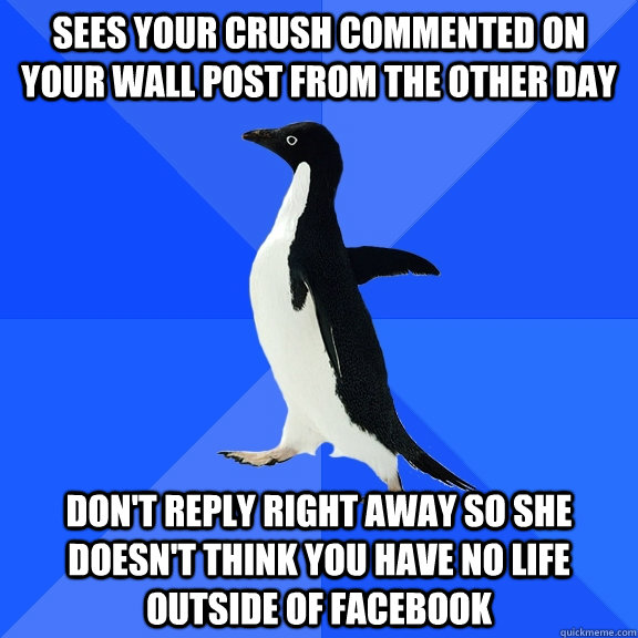 sees your crush commented on your wall post from the other day don't reply right away so she doesn't think you have no life outside of Facebook - sees your crush commented on your wall post from the other day don't reply right away so she doesn't think you have no life outside of Facebook  Socially Awkward Penguin