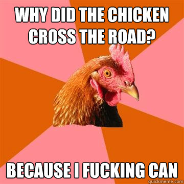 Why did the chicken cross the road? Because I fucking can - Why did the chicken cross the road? Because I fucking can  Anti-Joke Chicken