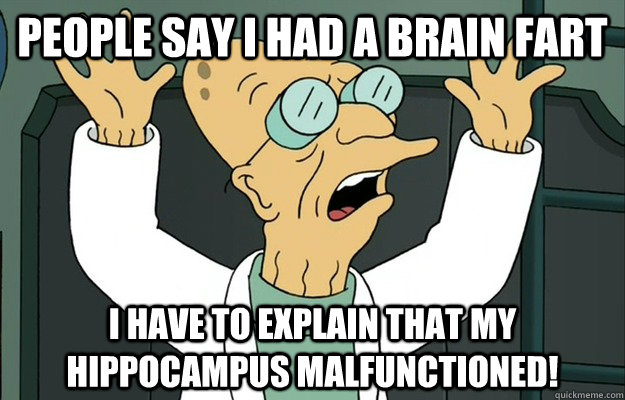 people say i had a brain fart i have to explain that my hippocampus malfunctioned!