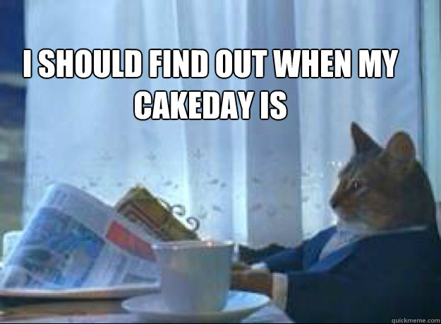 i should find out when my cakeday is  - i should find out when my cakeday is   I should buy a boat cat