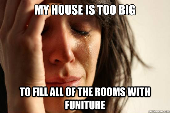 my house is too big to fill all of the rooms with funiture - my house is too big to fill all of the rooms with funiture  First World Problems