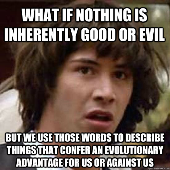 What if nothing is inherently good or evil But we use those words to describe things that confer an evolutionary advantage for us or against us - What if nothing is inherently good or evil But we use those words to describe things that confer an evolutionary advantage for us or against us  conspiracy keanu