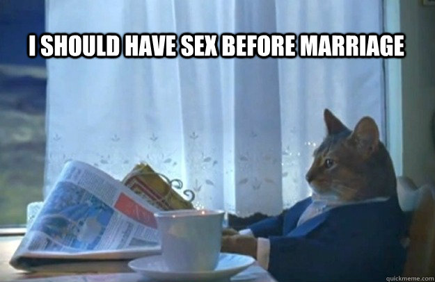 I should have sex before marriage - I should have sex before marriage  Sophisticated Cat