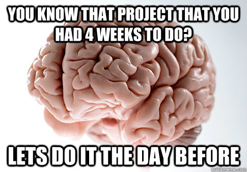 You know that project that you had 4 weeks to do? Lets do it the day before - You know that project that you had 4 weeks to do? Lets do it the day before  Scumbag Brain