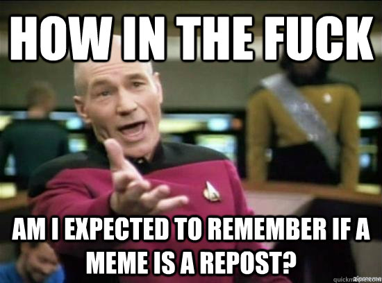 How in the fuck am I expected to remember if a meme is a repost? - How in the fuck am I expected to remember if a meme is a repost?  Annoyed Picard HD