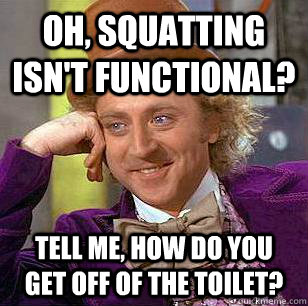 oh, squatting isn't functional? Tell me, how do you get off of the toilet? - oh, squatting isn't functional? Tell me, how do you get off of the toilet?  Condescending Wonka