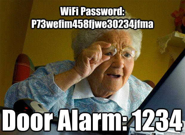 WiFi Password: P73wefim458fjwe30234jfma Door Alarm: 1234   Caption 5 goes here - WiFi Password: P73wefim458fjwe30234jfma Door Alarm: 1234   Caption 5 goes here  Grandma finds the Internet