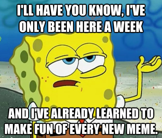 I'll have you know, I've only been here a week and I've already learned to make fun of every new meme. - I'll have you know, I've only been here a week and I've already learned to make fun of every new meme.  Tough Spongebob