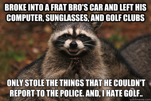 broke into a frat bro's car and left his computer, sunglasses, and golf clubs only stole the things that he couldn't report to the police. and, i hate golf.. - broke into a frat bro's car and left his computer, sunglasses, and golf clubs only stole the things that he couldn't report to the police. and, i hate golf..  Insidious Racoon 2