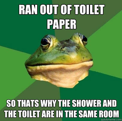 Ran out of toilet paper so thats why the shower and the toilet are in the same room - Ran out of toilet paper so thats why the shower and the toilet are in the same room  Foul Bachelor Frog