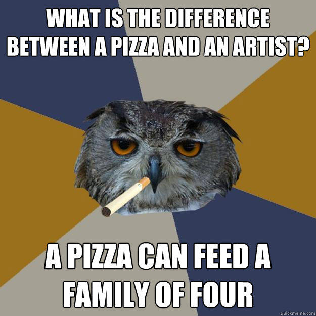 What is the difference between a pizza and an artist? A pizza can feed a family of four  Art Student Owl