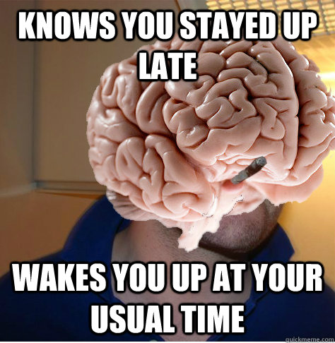 knows you stayed up late wakes you up at your usual time - knows you stayed up late wakes you up at your usual time  Good Guy Brain