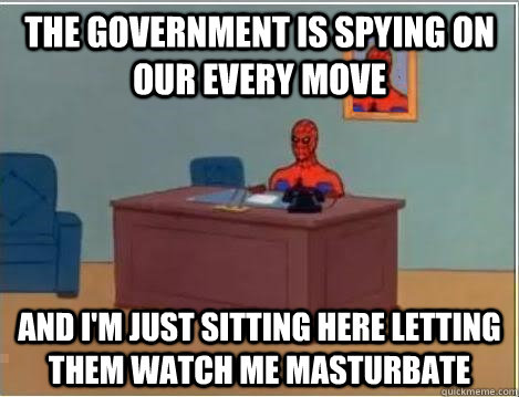 The government is spying on our every move and i'm just sitting here letting them watch me masturbate - The government is spying on our every move and i'm just sitting here letting them watch me masturbate  Spiderman Desk