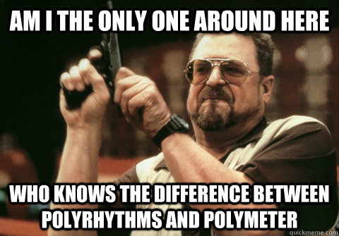 Am I the only one around here who knows the difference between polyrhythms and polymeter - Am I the only one around here who knows the difference between polyrhythms and polymeter  Am I the only one
