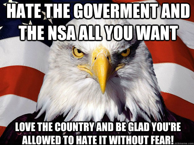 Hate the goverment and the NSA all you want Love the country and be glad you're allowed to hate it without fear! - Hate the goverment and the NSA all you want Love the country and be glad you're allowed to hate it without fear!  Patriotic Eagle