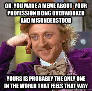 Oh, You made a meme about  your profession being overworked and misunderstood Yours is probably the only one in the world that feels that way - Oh, You made a meme about  your profession being overworked and misunderstood Yours is probably the only one in the world that feels that way  Condescending Wonka