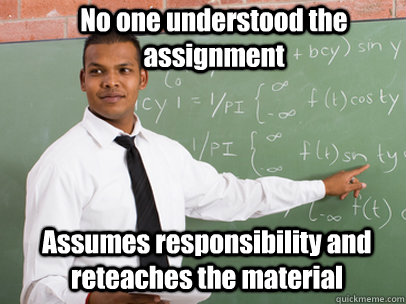 No one understood the assignment Assumes responsibility and reteaches the material