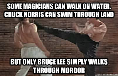 Some magicians can walk on water. Chuck Norris can swim through land But only Bruce Lee simply walks through Mordor