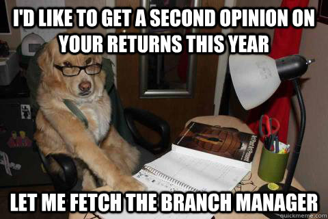 I'd like to get a second opinion on your returns this year Let me fetch the branch manager - I'd like to get a second opinion on your returns this year Let me fetch the branch manager  Financial Advice Dog