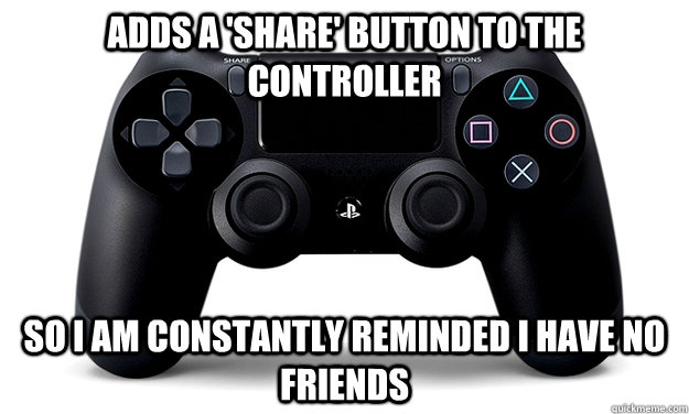 Adds a 'Share' button to the controller So I am constantly reminded I have no friends - Adds a 'Share' button to the controller So I am constantly reminded I have no friends  Misc