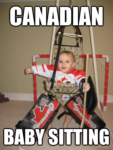 canadian baby sitting  baby hockey
