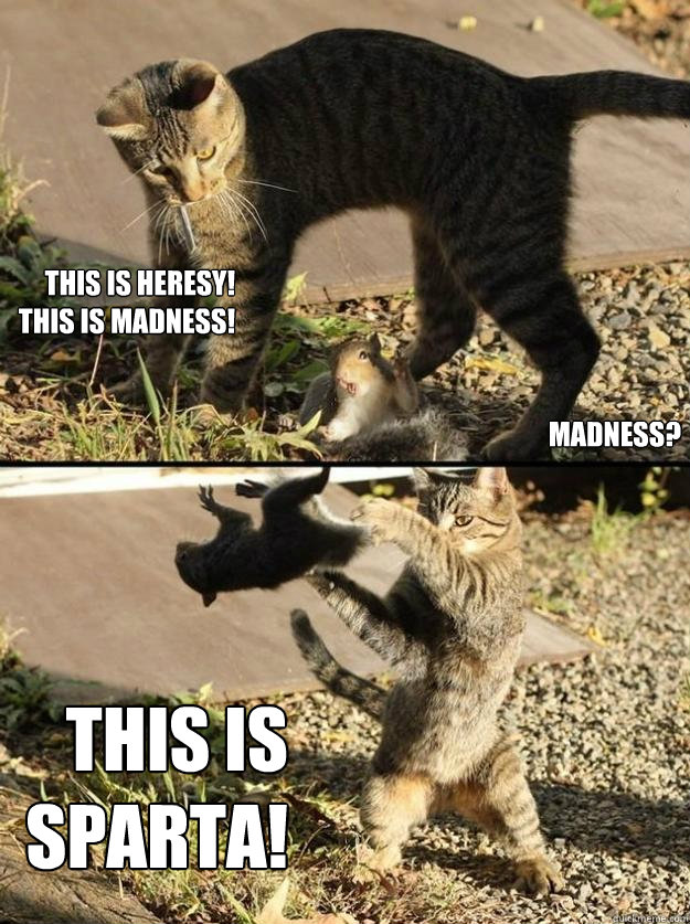 This is heresy! This is madness! Madness? THIS IS SPARTA! - This is heresy! This is madness! Madness? THIS IS SPARTA!  Annoying Squirrel