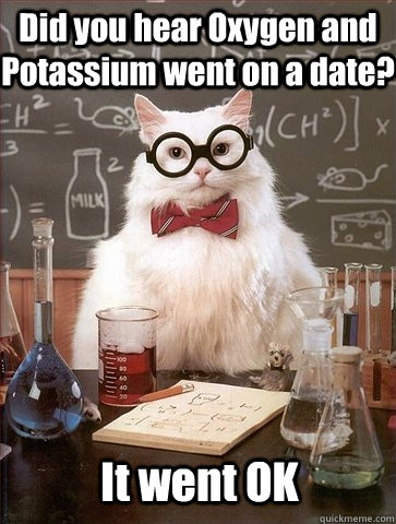 Did you hear Oxygen and Potassium went on a date? It went OK - Did you hear Oxygen and Potassium went on a date? It went OK  Chemistry Cat