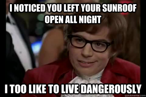 I noticed you left your sunroof open all night i too like to live dangerously - I noticed you left your sunroof open all night i too like to live dangerously  Dangerously - Austin Powers