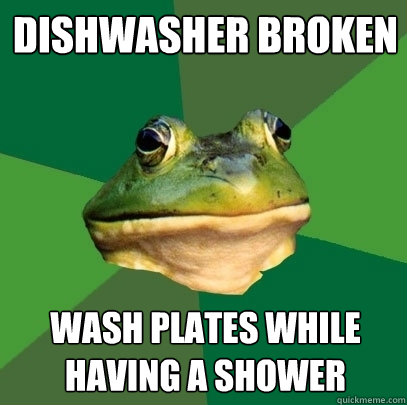 Dishwasher broken wash plates while having a shower - Dishwasher broken wash plates while having a shower  Foul Bachelor Frog