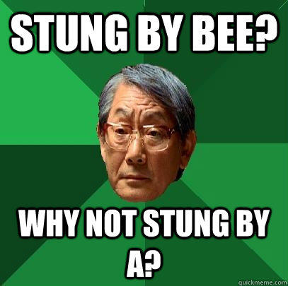Stung by bee? Why not stung by A?  High Expectations Asian Father
