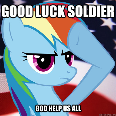 47ba7861e53d9edc2ac5e5de27327b4d67f5ab2c1784307b83bde1e3d11c246e good luck soldier god help us all rainbow dash salute quickmeme