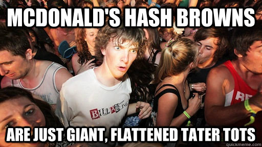 mcdonald's hash browns are just giant, flattened tater tots - mcdonald's hash browns are just giant, flattened tater tots  Sudden Clarity Clarence