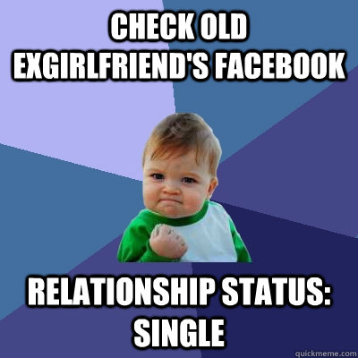 Check old exgirlfriend's facebook Relationship status: single - Check old exgirlfriend's facebook Relationship status: single  Success Kid