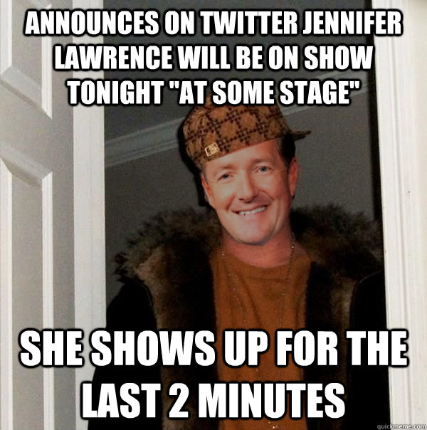 Announces on Twitter Jennifer Lawrence will be on show tonight