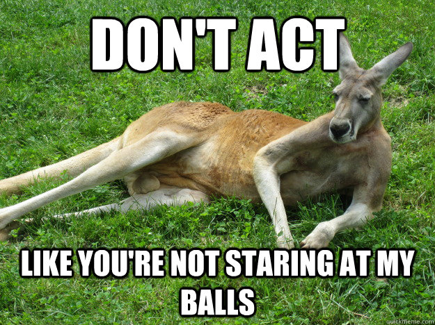 don't act like you're not staring at my balls