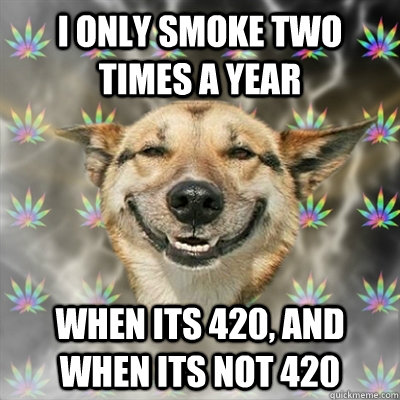 I only smoke two times a year When its 420, and when its not 420 - I only smoke two times a year When its 420, and when its not 420  Stoner Dog
