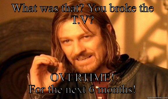 WHAT WAS THAT? YOU BROKE THE T.V? OVERTIME! FOR THE NEXT 6 MONTHS! One Does Not Simply