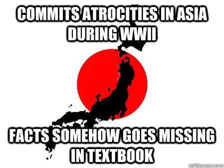 Commits atrocities in Asia during WWII facts somehow goes missing in textbook