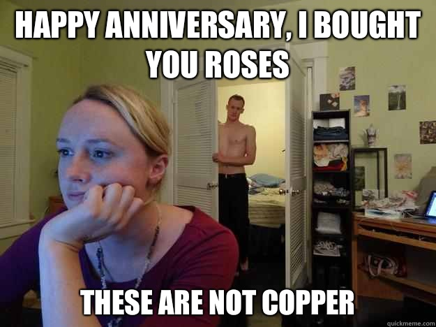 Happy anniversary, I bought you roses These are not copper