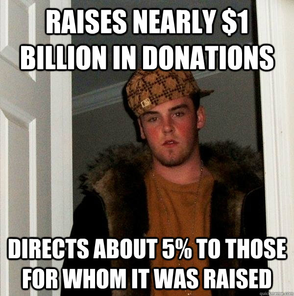 Raises nearly $1 billion in donations Directs about 5% to those for whom it was raised - Raises nearly $1 billion in donations Directs about 5% to those for whom it was raised  Scumbag Steve