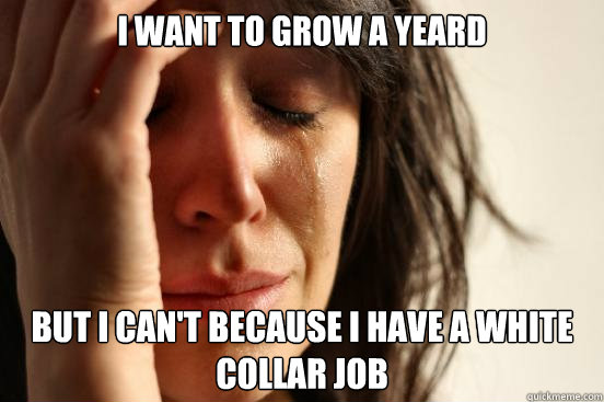 i want to grow a yeard but i can't because i have a white collar job - i want to grow a yeard but i can't because i have a white collar job  First World Problems
