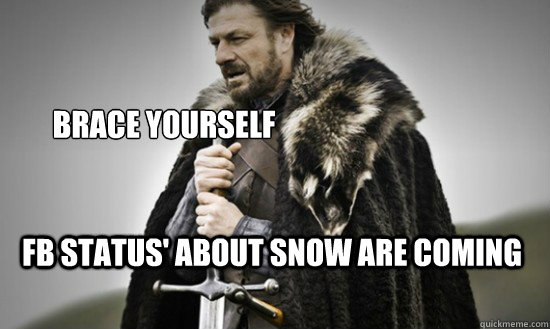 Brace Yourself FB Status' about snow are coming