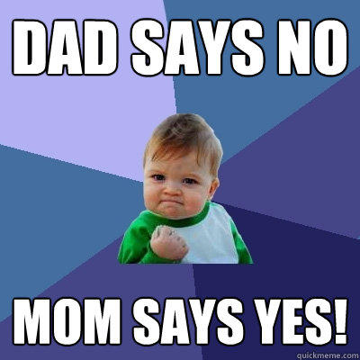 dad says no Mom says yes! - dad says no Mom says yes!  Success Kid