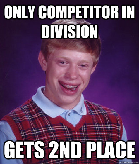 Only competitor in division gets 2nd place - Only competitor in division gets 2nd place  Badluckbrian