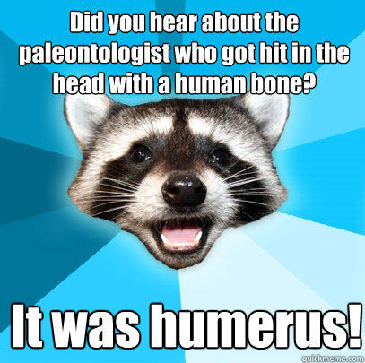 Did you hear about the paleontologist who got hit in the head with a human bone? It was humerus! - Did you hear about the paleontologist who got hit in the head with a human bone? It was humerus!  Lame Pun Coon