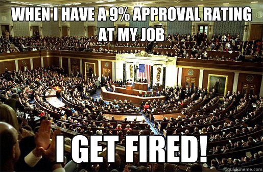 When I have a 9% Approval Rating at My Job I GET FIRED! - When I have a 9% Approval Rating at My Job I GET FIRED!  Congress
