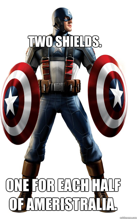 Two shields. One for each half of Ameristralia. - Two shields. One for each half of Ameristralia.  Invincible Captain America
