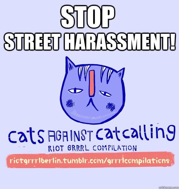 STOP STREET HARASSMENT!  cats against catcalling